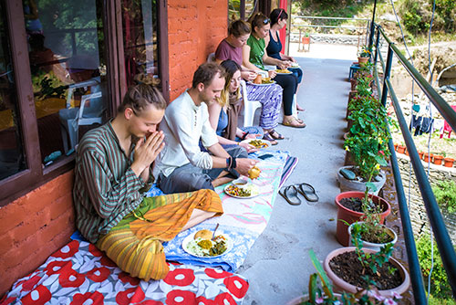 Home-cooked food at Chinmay Yoga